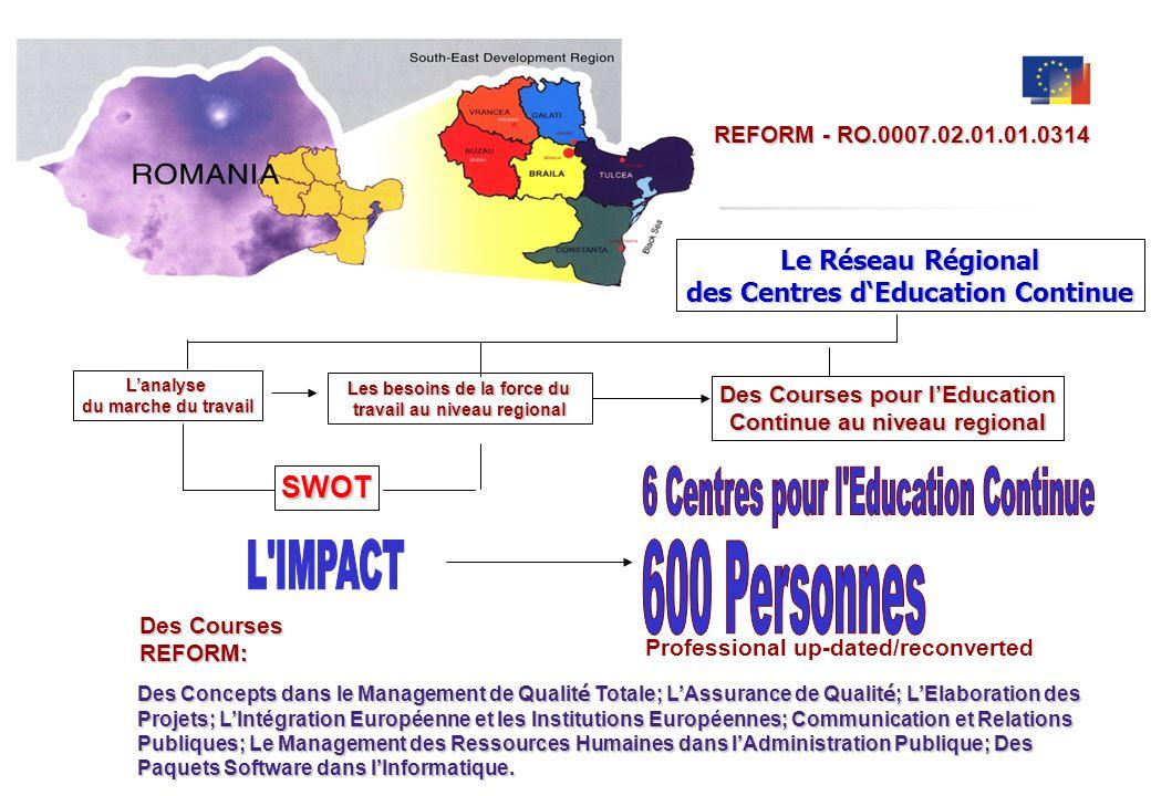 6 Centres pour l Education Continue L IMPACT 600 Personnes