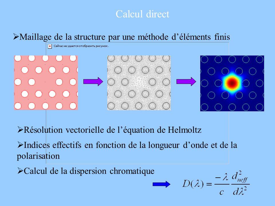 Calcul direct Maillage de la structure par une méthode d'éléments finis. Résolution vectorielle de l'équation de Helmoltz.