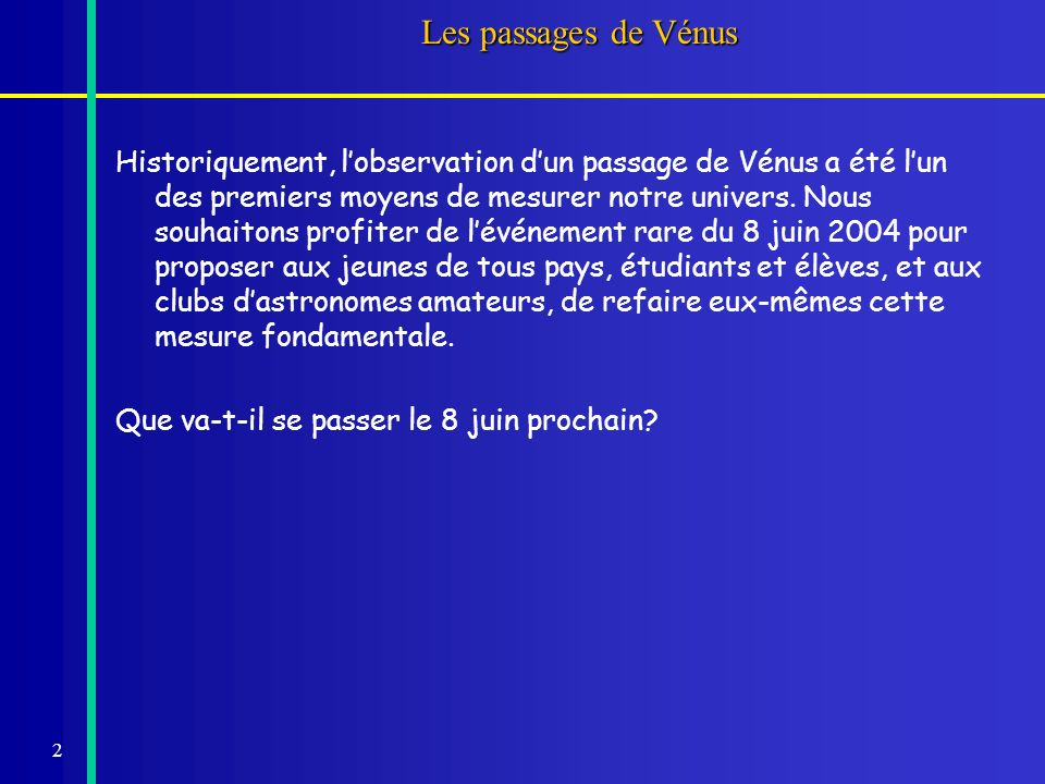 Les passages de Vénus