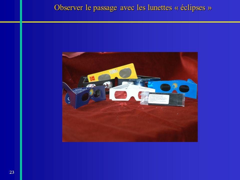 Observer le passage avec les lunettes « éclipses »