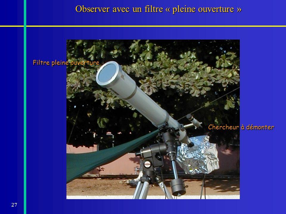 Observer avec un filtre « pleine ouverture »