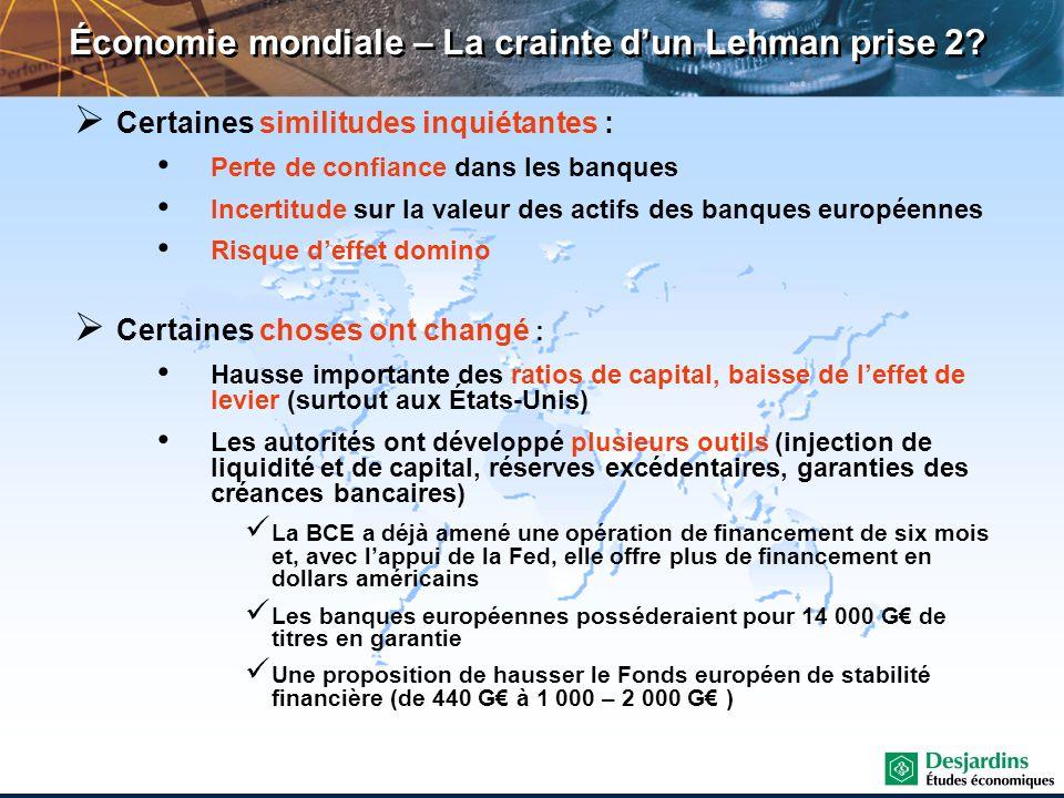 Économie mondiale – La crainte d'un Lehman prise 2