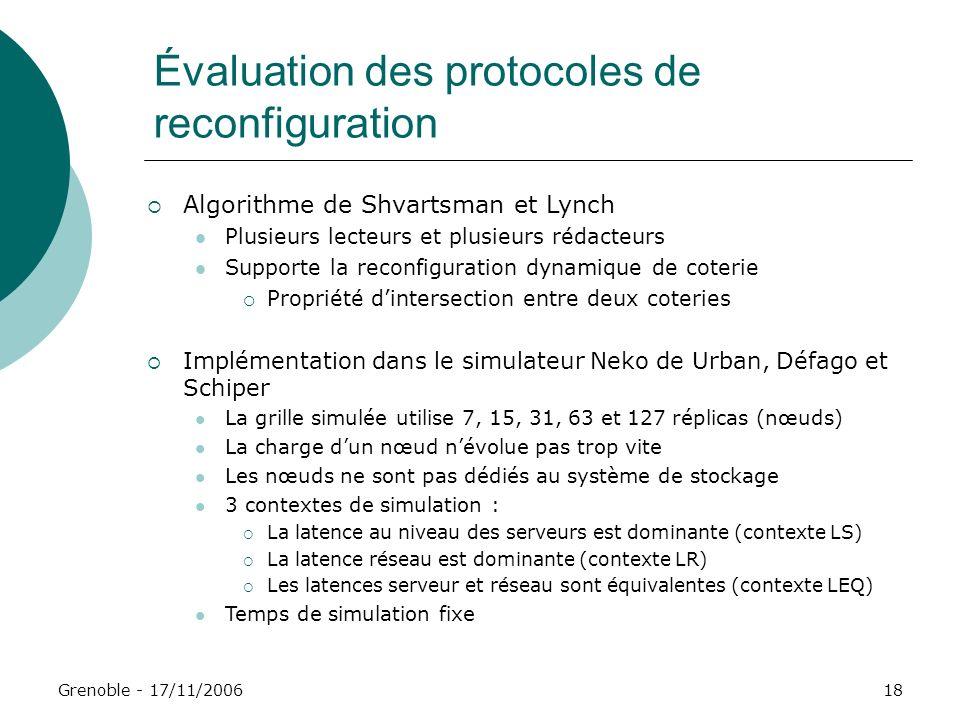 Évaluation des protocoles de reconfiguration