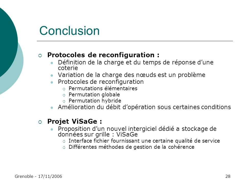 Conclusion Protocoles de reconfiguration : Projet ViSaGe :