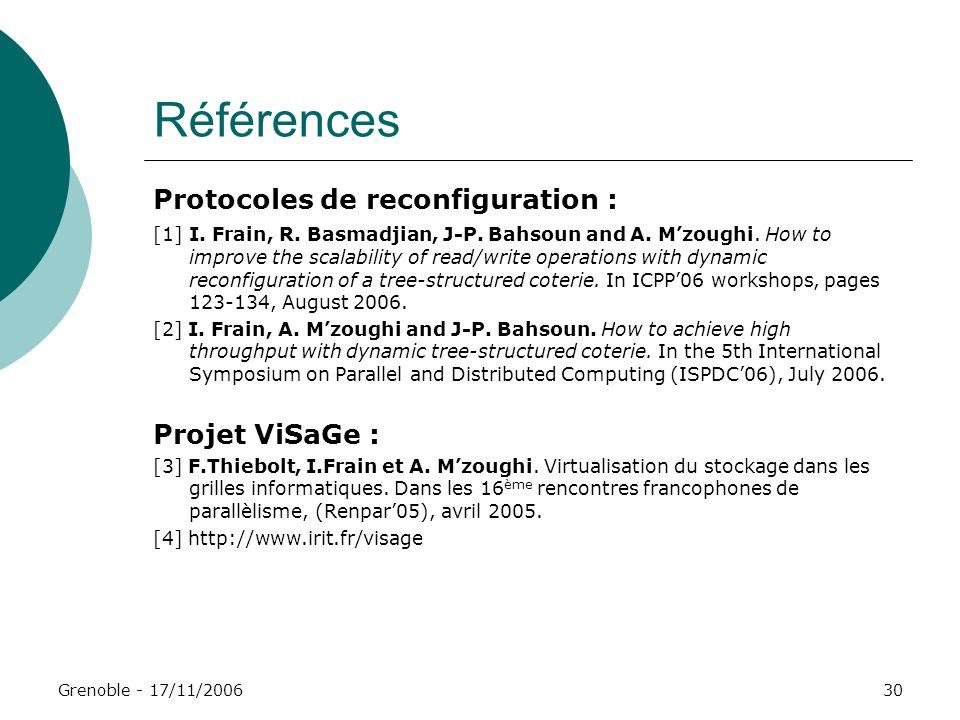 Références Protocoles de reconfiguration : Projet ViSaGe :
