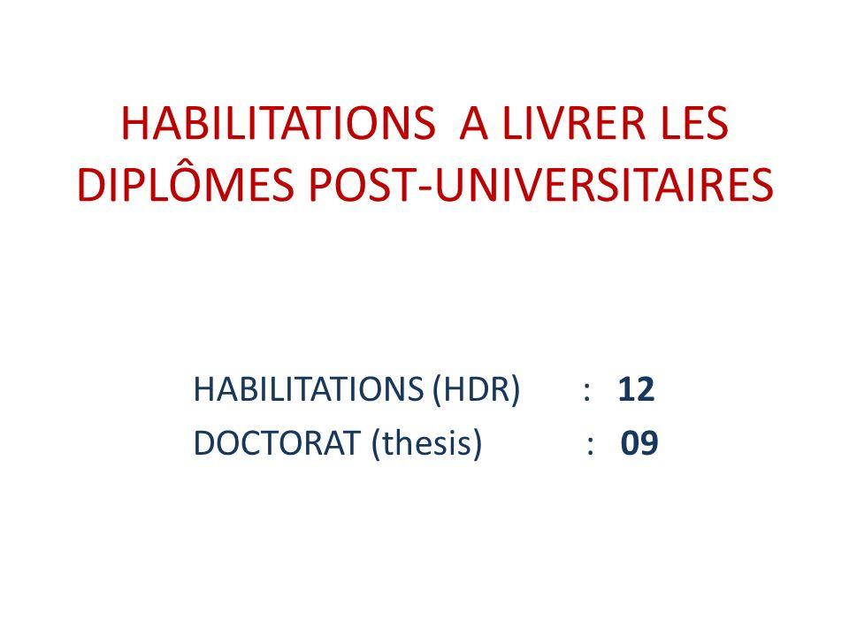 HABILITATIONS A LIVRER LES DIPLÔMES POST-UNIVERSITAIRES