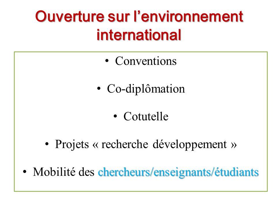 Ouverture sur l'environnement international