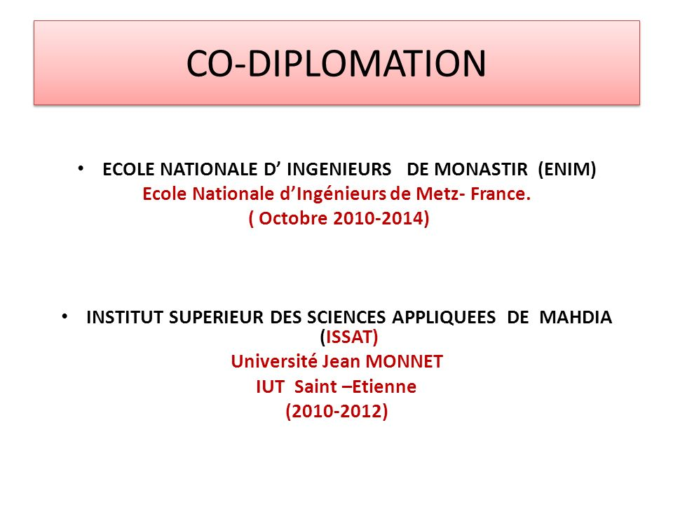 CO-DIPLOMATION ECOLE NATIONALE D' INGENIEURS DE MONASTIR (ENIM)