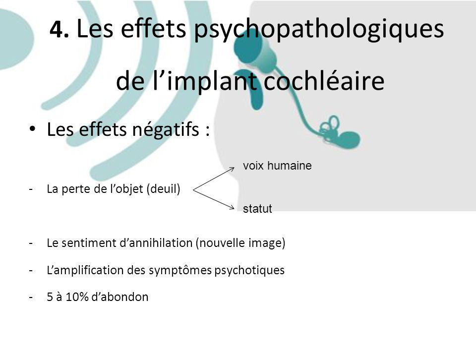 4. Les effets psychopathologiques de l'implant cochléaire