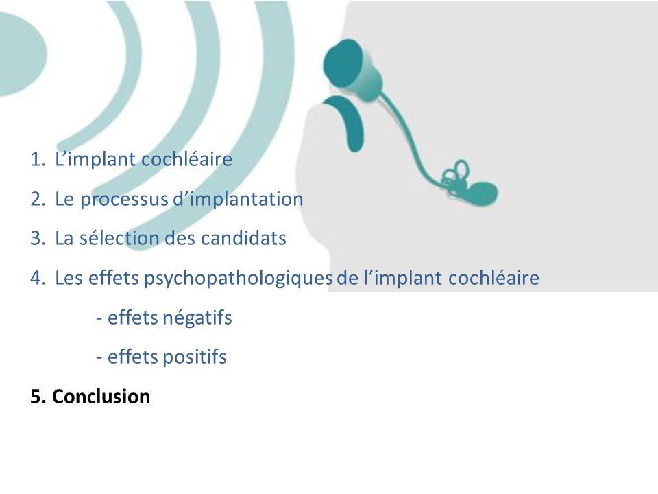 L'implant cochléaire Le processus d'implantation. La sélection des candidats. Les effets psychopathologiques de l'implant cochléaire.