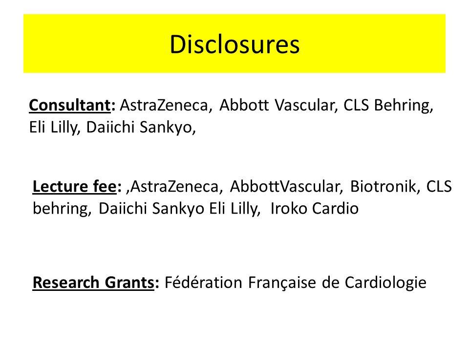 Disclosures Consultant: AstraZeneca, Abbott Vascular, CLS Behring, Eli Lilly, Daiichi Sankyo,