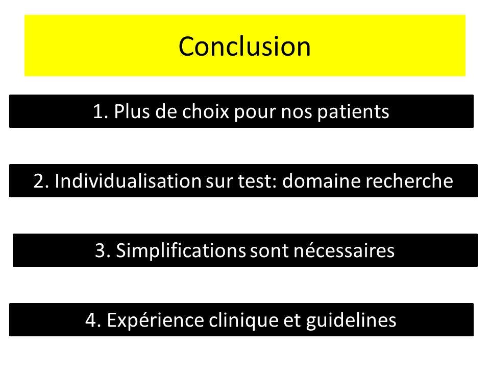 Conclusion 1. Plus de choix pour nos patients