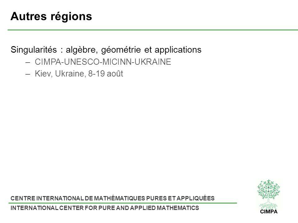 Autres régions Singularités : algèbre, géométrie et applications