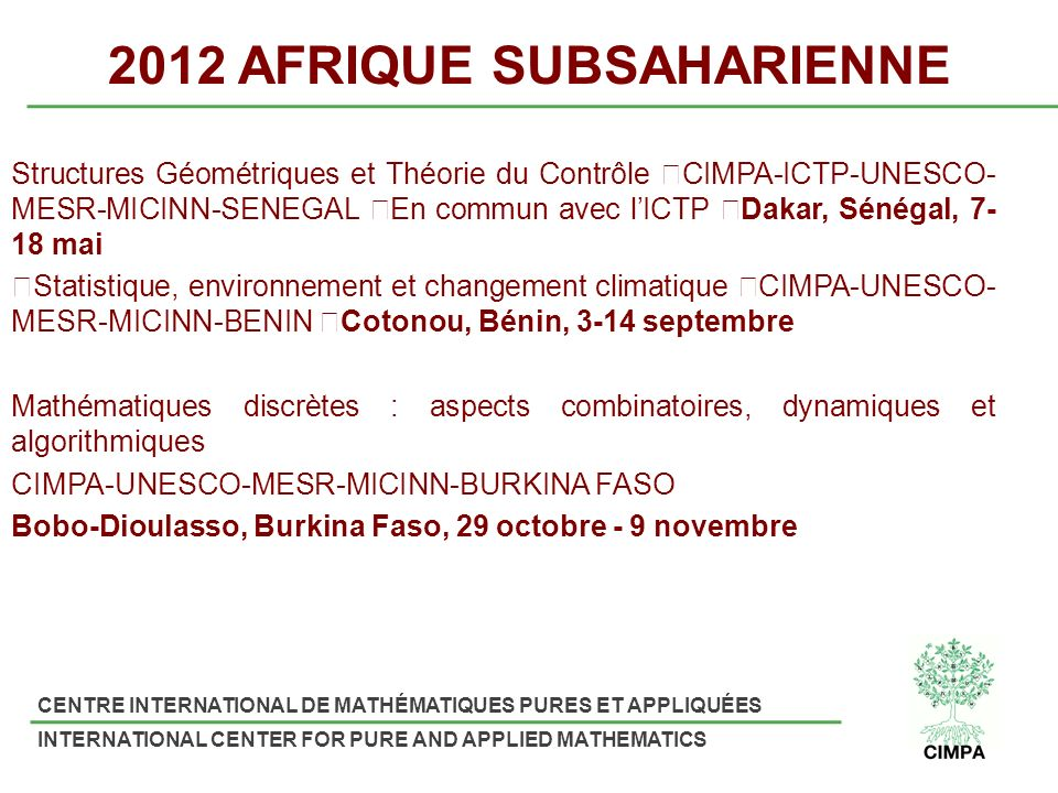 2012 AFRIQUE SUBSAHARIENNE