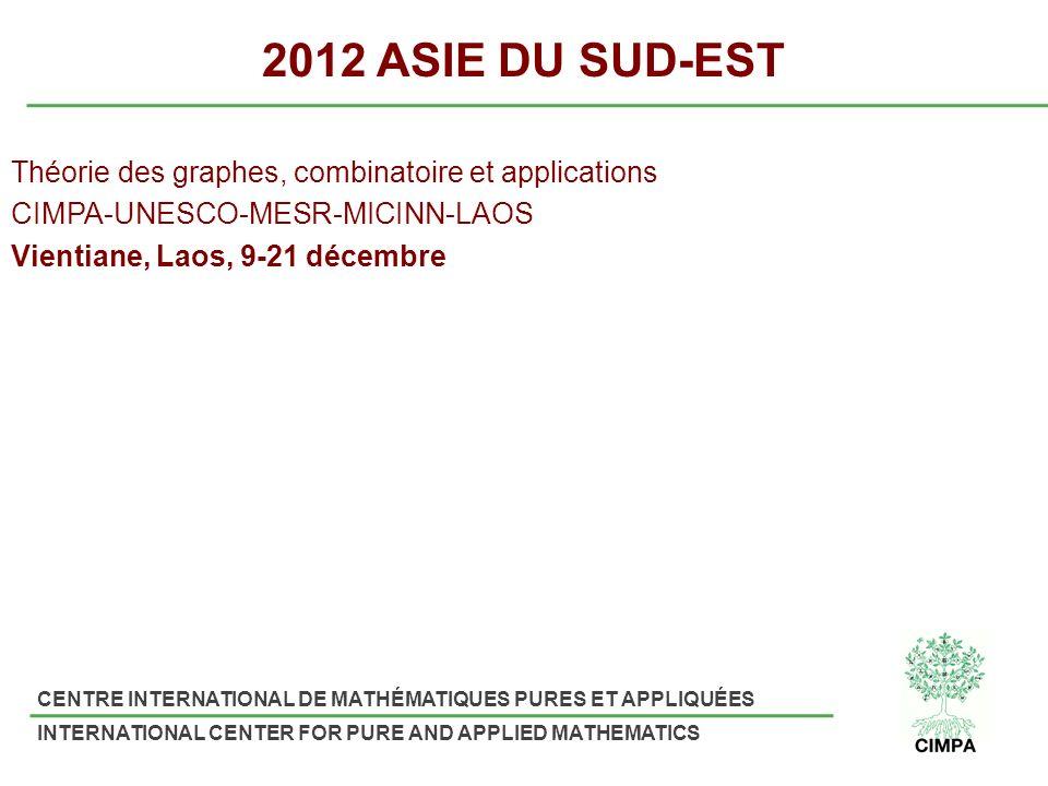 2012 ASIE DU SUD-EST Théorie des graphes, combinatoire et applications CIMPA-UNESCO-MESR-MICINN-LAOS Vientiane, Laos, 9-21 décembre