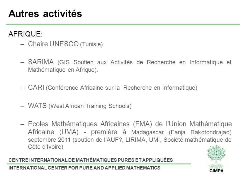 Autres activités AFRIQUE: Chaire UNESCO (Tunisie)