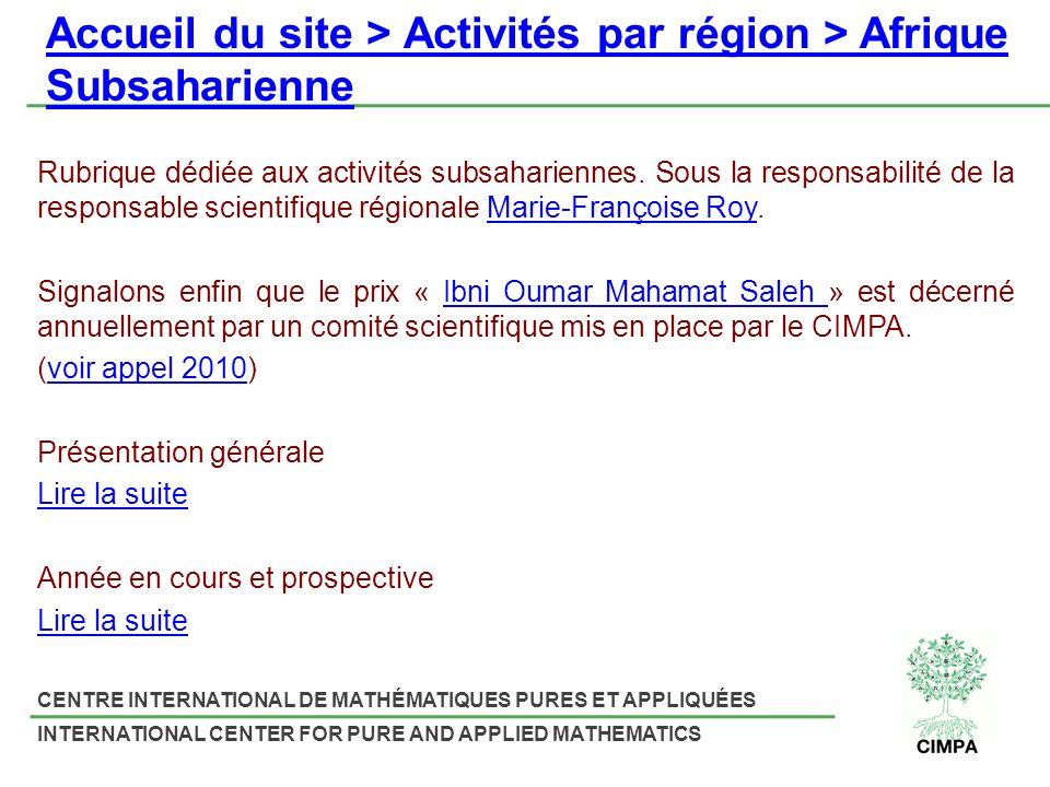 Accueil du site > Activités par région > Afrique Subsaharienne