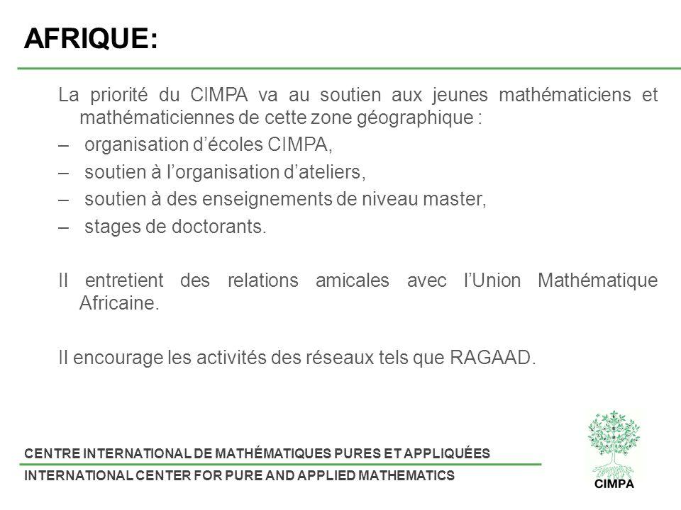 AFRIQUE: La priorité du CIMPA va au soutien aux jeunes mathématiciens et mathématiciennes de cette zone géographique :