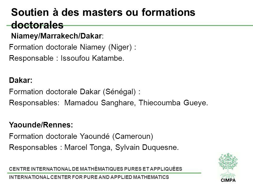 Soutien à des masters ou formations doctorales