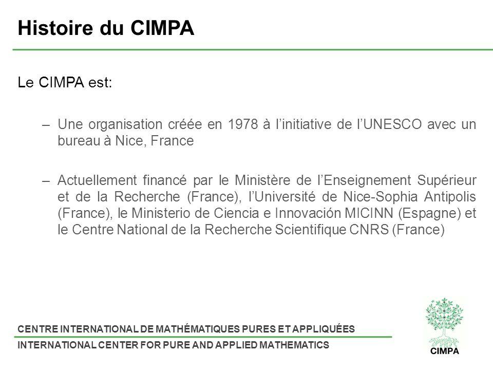 Histoire du CIMPA Le CIMPA est: