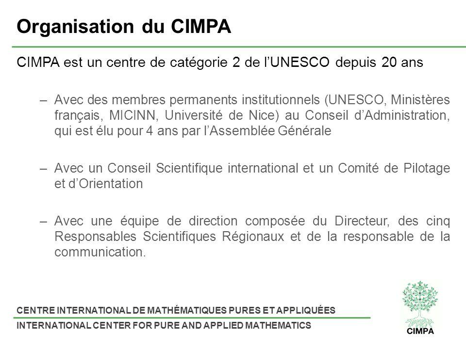 Organisation du CIMPA CIMPA est un centre de catégorie 2 de l'UNESCO depuis 20 ans.