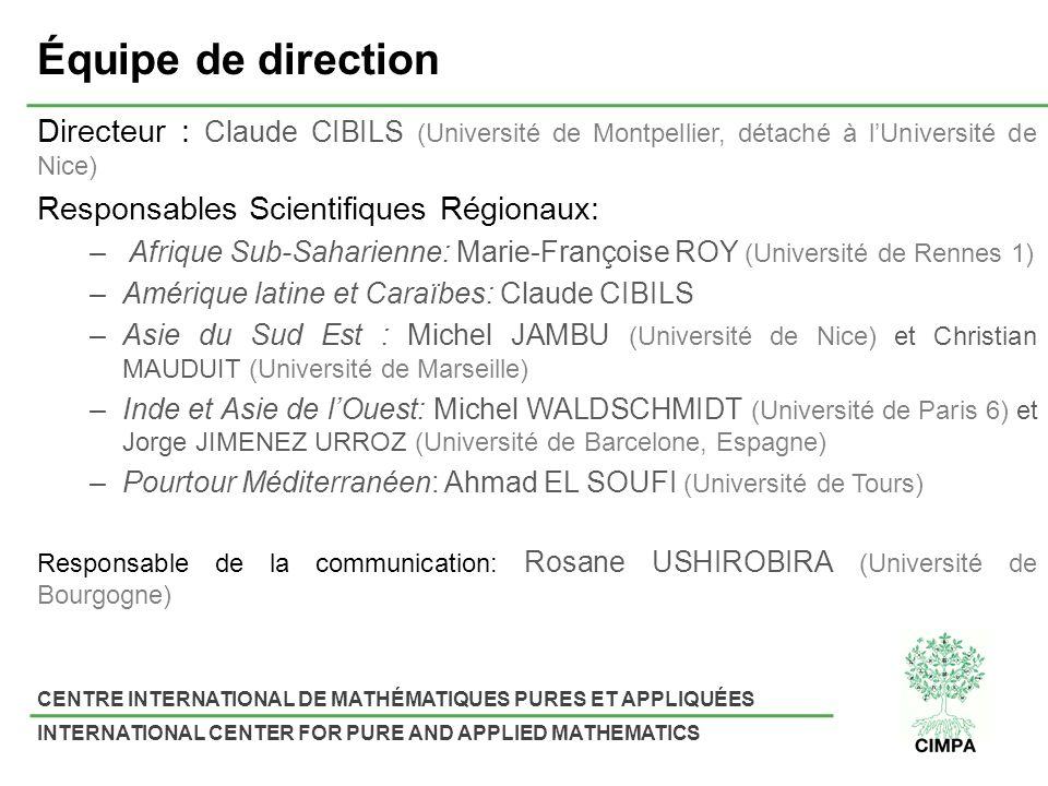 Équipe de direction Directeur : Claude CIBILS (Université de Montpellier, détaché à l'Université de Nice)