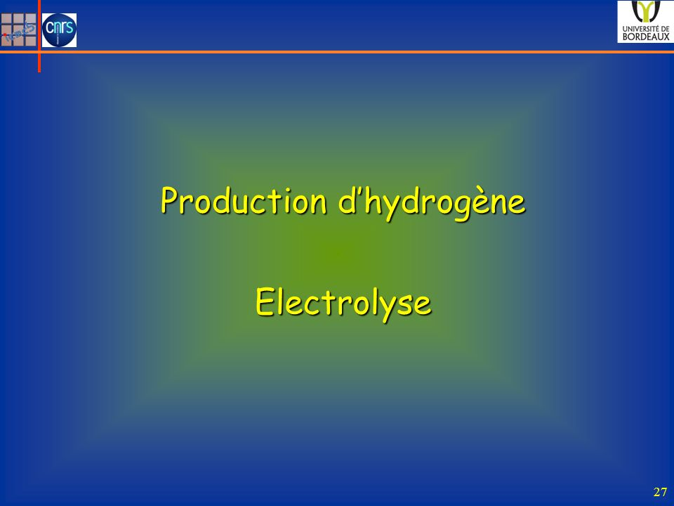 Production d'hydrogène
