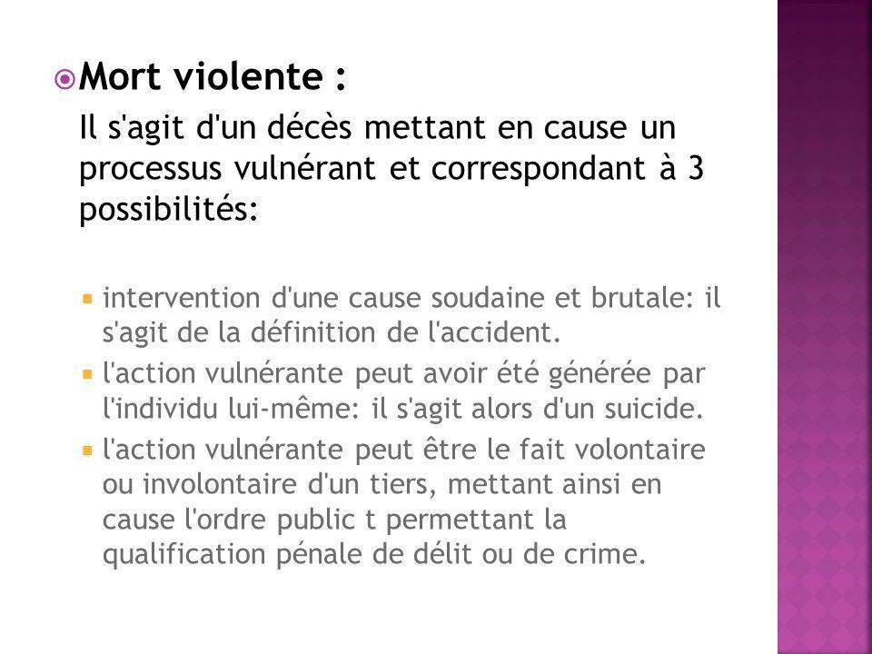 Mort violente : Il s agit d un décès mettant en cause un processus vulnérant et correspondant à 3 possibilités:
