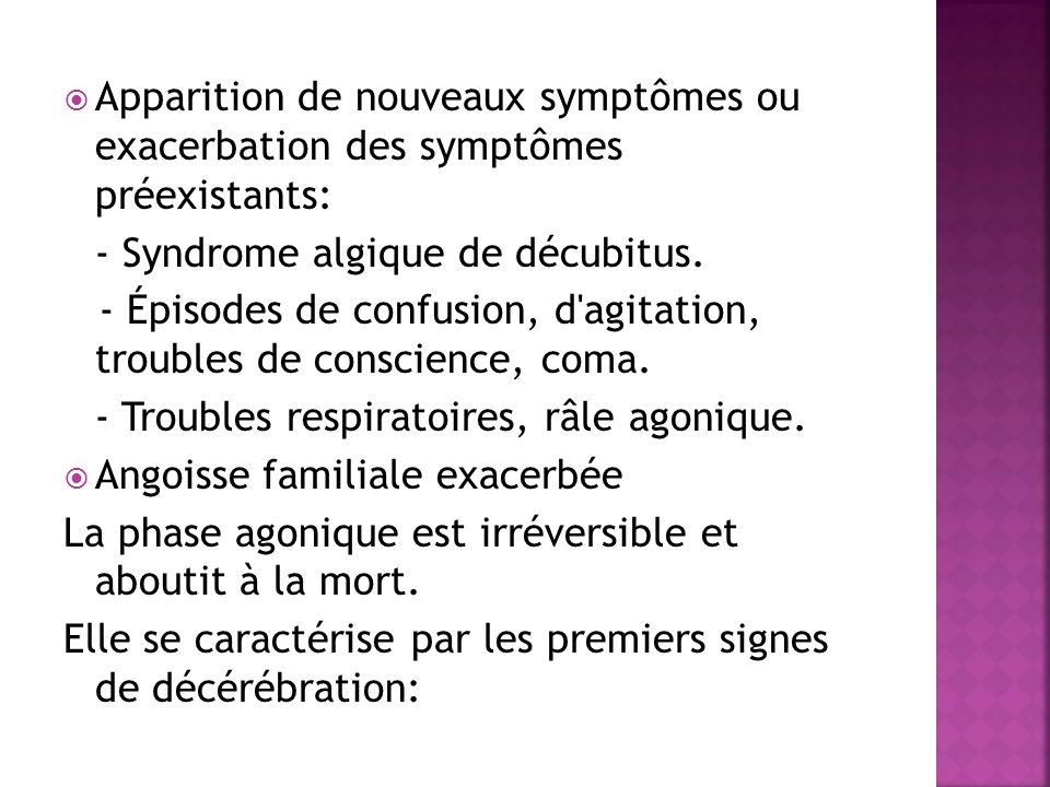 Apparition de nouveaux symptômes ou exacerbation des symptômes préexistants: