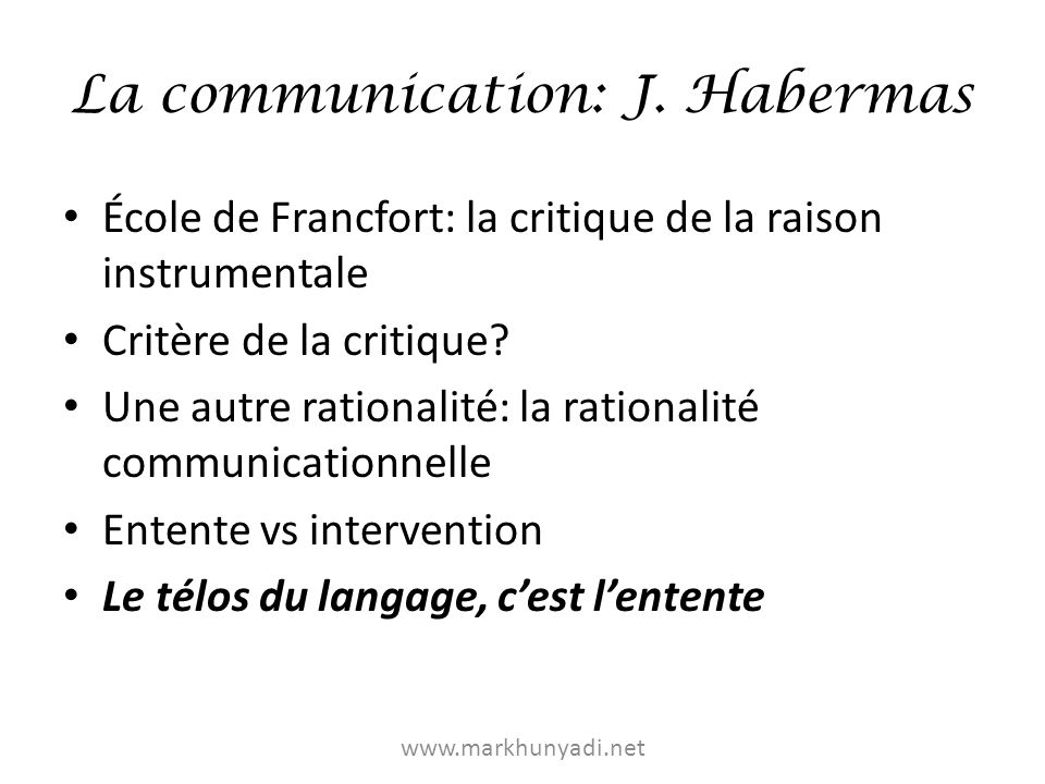 La communication: J. Habermas