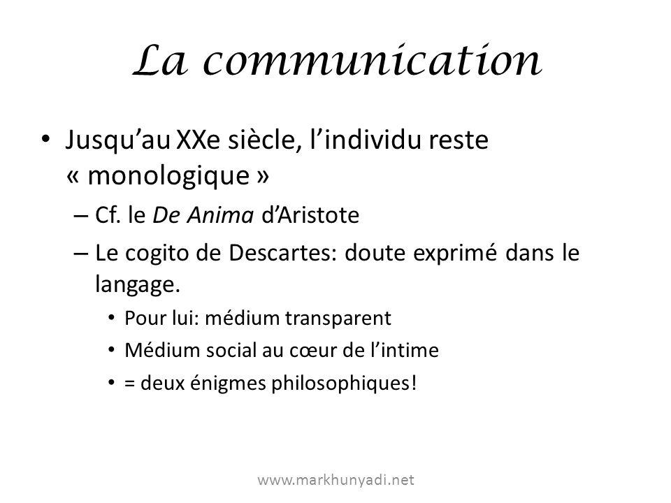 La communication Jusqu'au XXe siècle, l'individu reste « monologique »