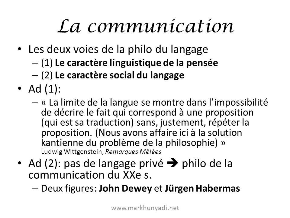 La communication Les deux voies de la philo du langage Ad (1):