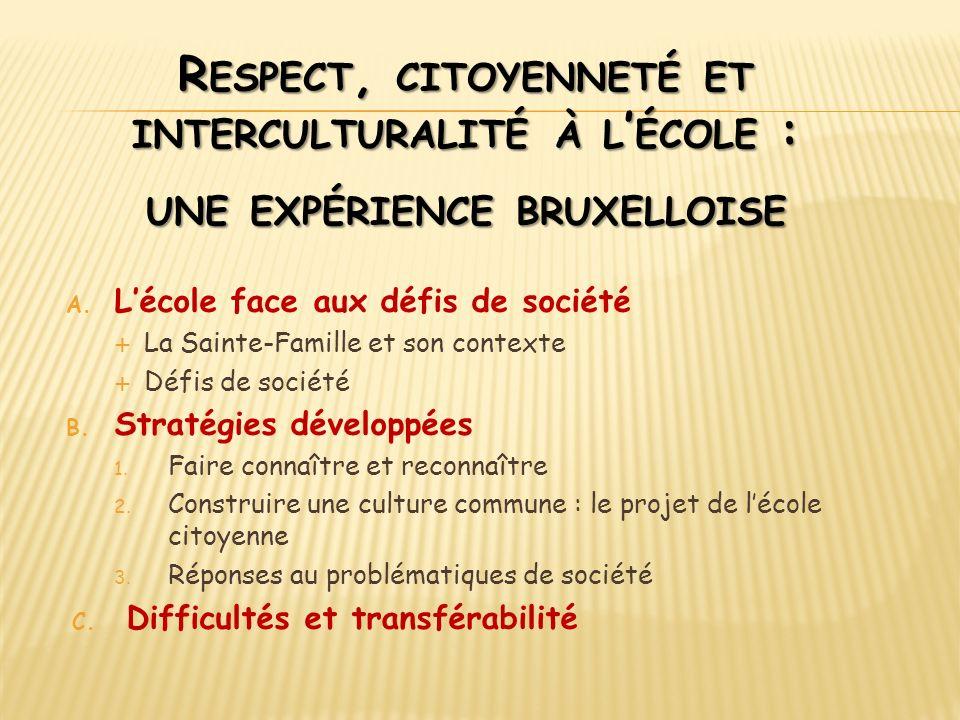 Respect, citoyenneté et interculturalité à l'école : une expérience bruxelloise