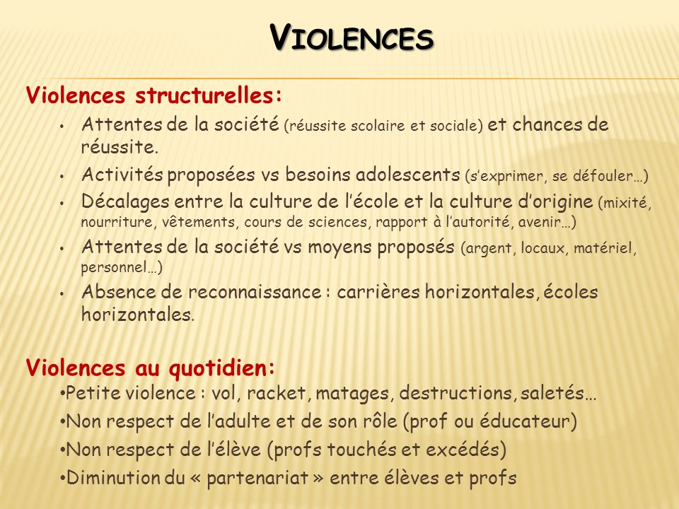 Violences Violences structurelles: Violences au quotidien: