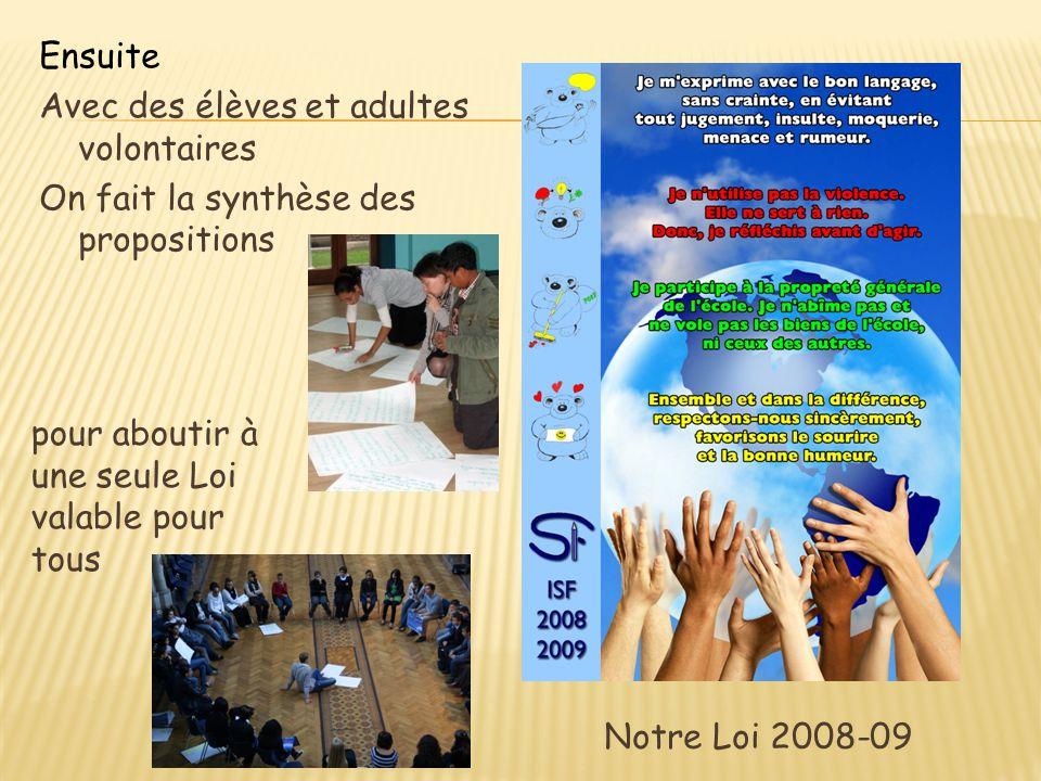 Ensuite Avec des élèves et adultes volontaires On fait la synthèse des propositions