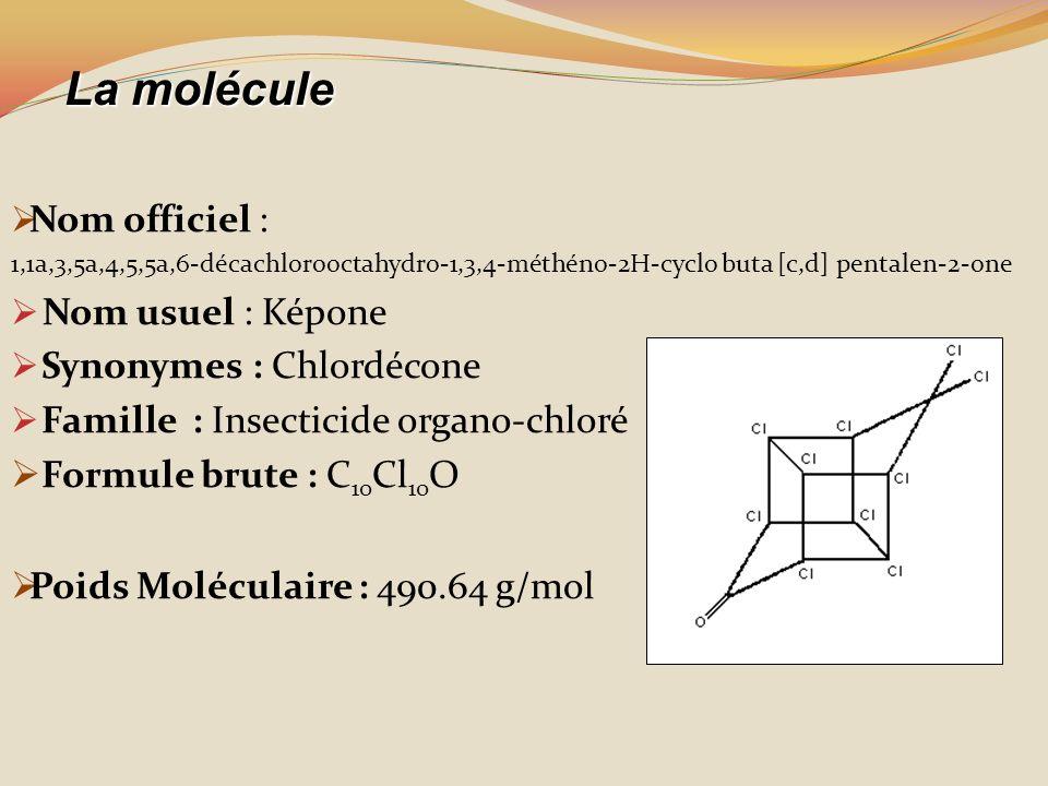 La molécule Nom officiel : Nom usuel : Képone Synonymes : Chlordécone