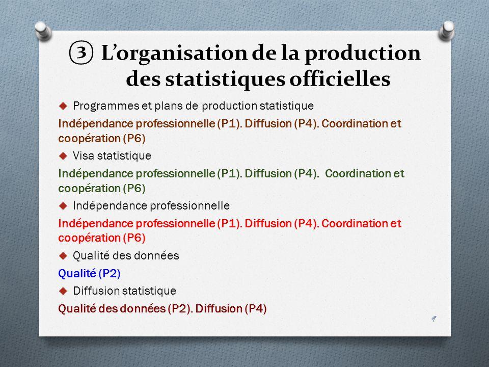 L'organisation de la production des statistiques officielles