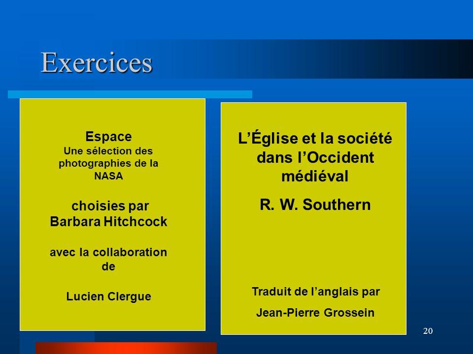 Exercices L'Église et la société dans l'Occident médiéval