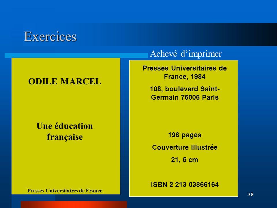 Exercices Achevé d'imprimer ODILE MARCEL Une éducation française