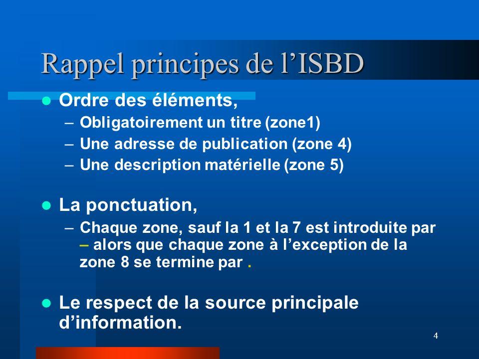Rappel principes de l'ISBD