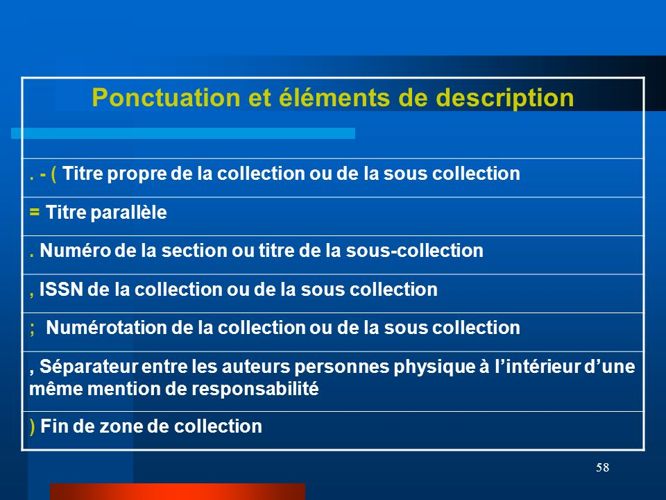 Ponctuation et éléments de description