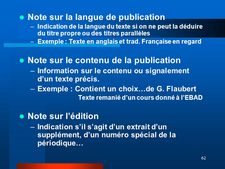 Note sur la langue de publication