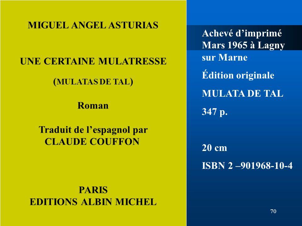 UNE CERTAINE MULATRESSE Traduit de l'espagnol par CLAUDE COUFFON