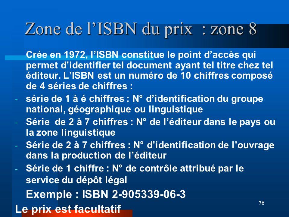 Zone de l'ISBN du prix : zone 8