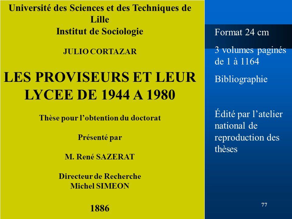 LES PROVISEURS ET LEUR LYCEE DE 1944 A 1980