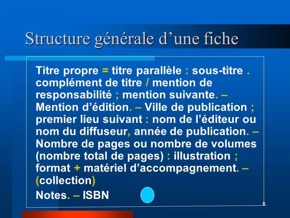 Structure générale d'une fiche