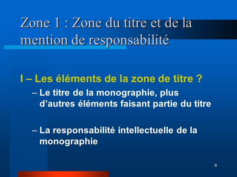 Zone 1 : Zone du titre et de la mention de responsabilité
