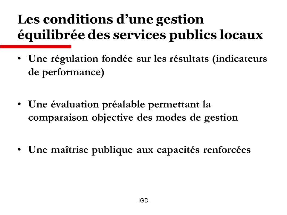 Les conditions d'une gestion équilibrée des services publics locaux