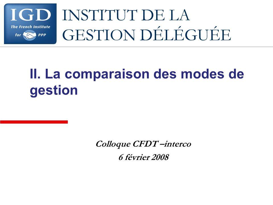 II. La comparaison des modes de gestion