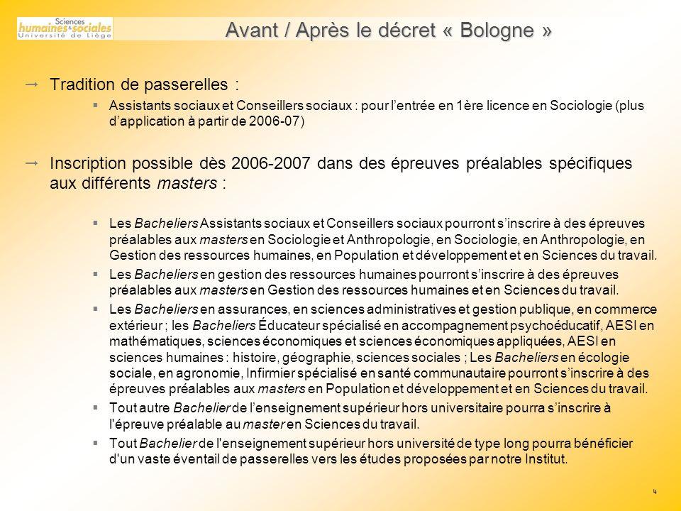 Avant / Après le décret « Bologne »
